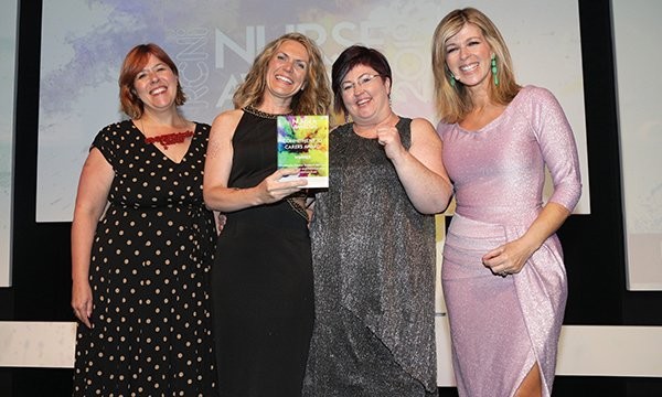 SAlly Kitchin and colleagues collecting the 2019 RCNi Commitment to Carers Award