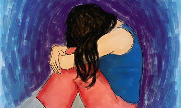 Illustration of female mental health service user who has been sexually abused