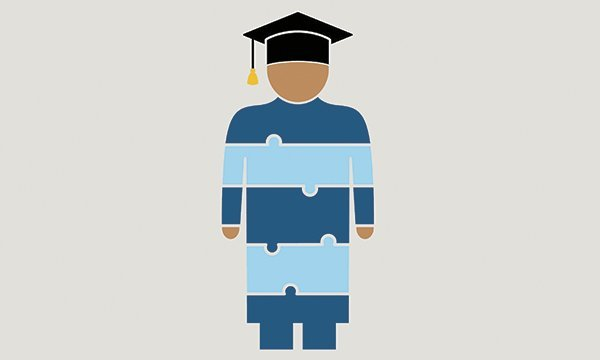 Illustration shows a figure overlaid by a jigsaw pattern, wearing a scholar's cap and gown, representing joined up education. Lecturer Hannah Bryant welcomes new NMC standards that set out skills and knowledge required by the next generation of nurses.
