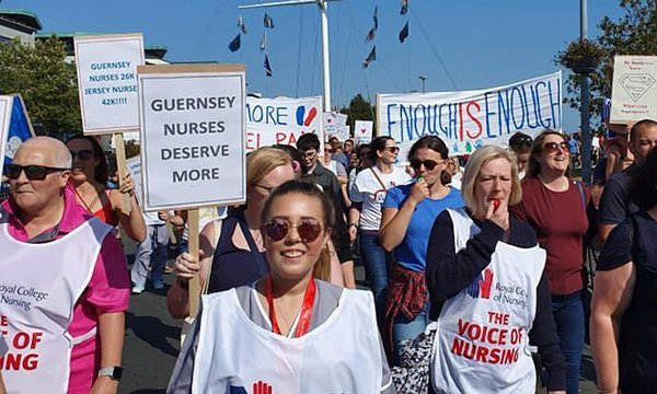 guernsey members of the RCN take part in a pay protest