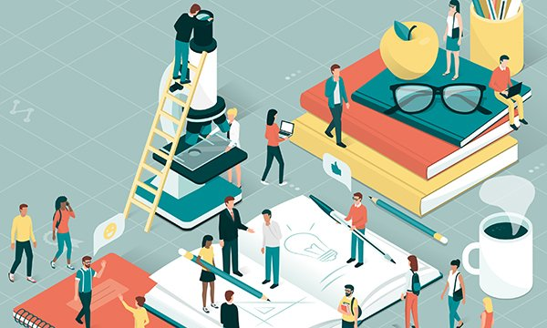 Illustration depicts tiny human figures on a giant-sized desk, representing cooperation on research tasks. A cancer charity is inviting nurses to a free day of learning about the latest research while networking with colleagues.