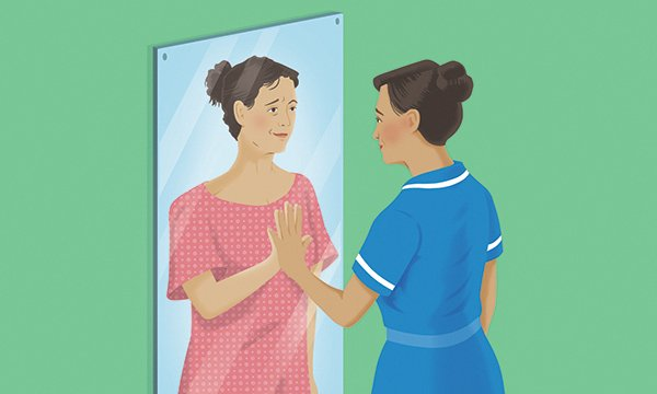 Picture is an illustration of a woman in nursing uniform touching an image in a mirror of herself wearing everyday clothes. Two nurses and a doctor share their experiences of having cancer and offer a unique perspective on cancer care