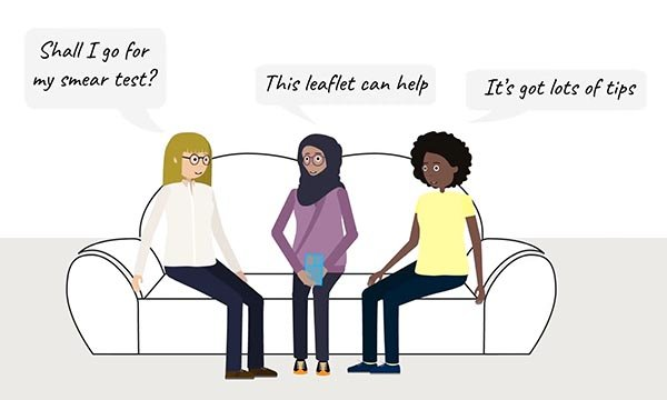 Illustration of mental health service users discussing cervical screening with healthcare professionals