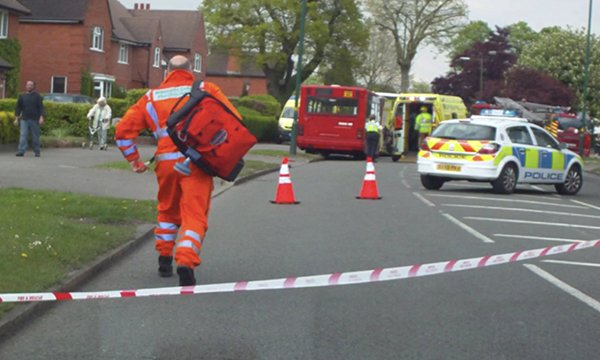 Andy Thurgood arriving at a road traffic accident