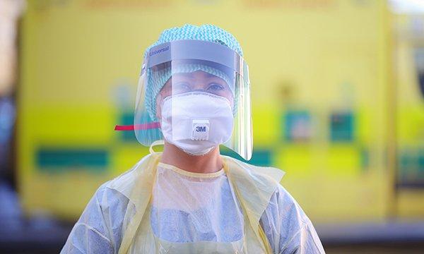 Emergency department worker wearing PPE