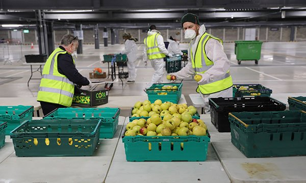 Volunteers helping to distribute fresh food in east London during the COVID-19 pandemic