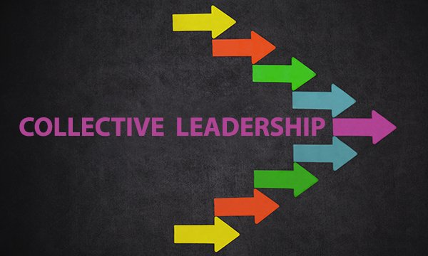 A group of multi-coloured arrows, all pointing the same way, in front of the words 'collective leadership'. Picture: iStock