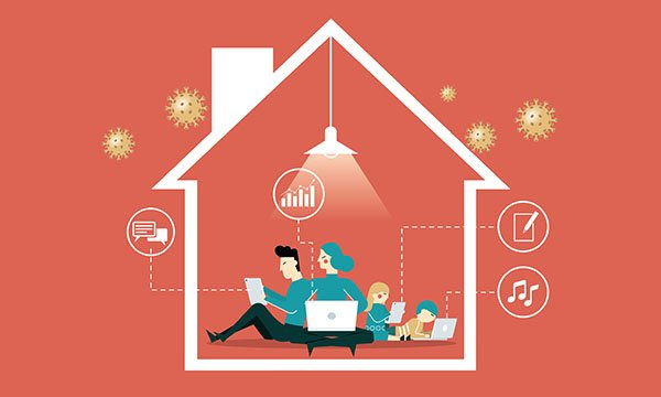Illustration of people working within a house, with COVID-19 molecules outside. Picture: iStock