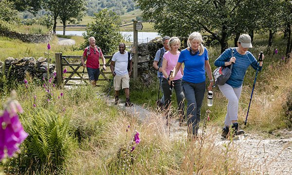 Picture shows a group of older people hiking in the countryside