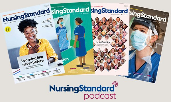 Montage of Nursing Standard images, showing four recent journal covers